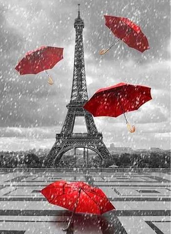 Алмазная Мозаика 40x50 Красные зонты на фоне Эйфелевой башни (арт. 2PAV713)