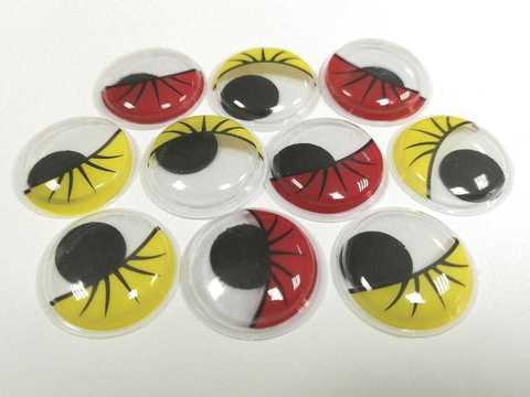 Бегающие глазки красно-желтые,  20Х20мм, пластмассовые. 1уп-10шт. (1248)