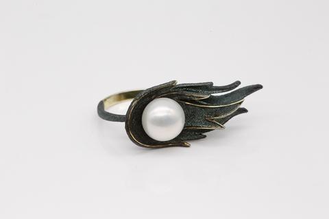 Кольцо из серебра с жемчугом и эмалью ДеФлер 51808Y1Z