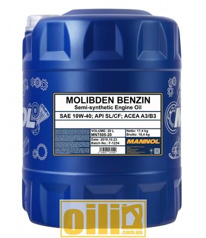 Mannol 7505 MOLIBDEN BENZIN 10W-40 20л