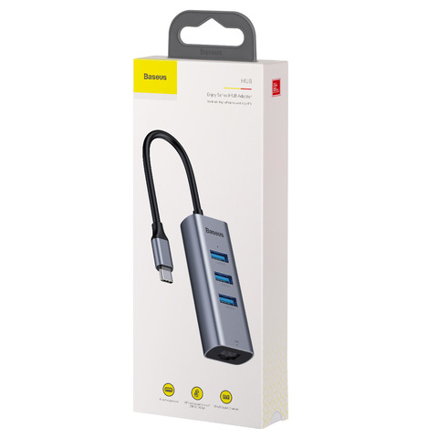 USB-концентратор Baseus Enjoy Series Type-C - 3xUSB/RJ45 (CAHUB-M0G), разъемов: 3