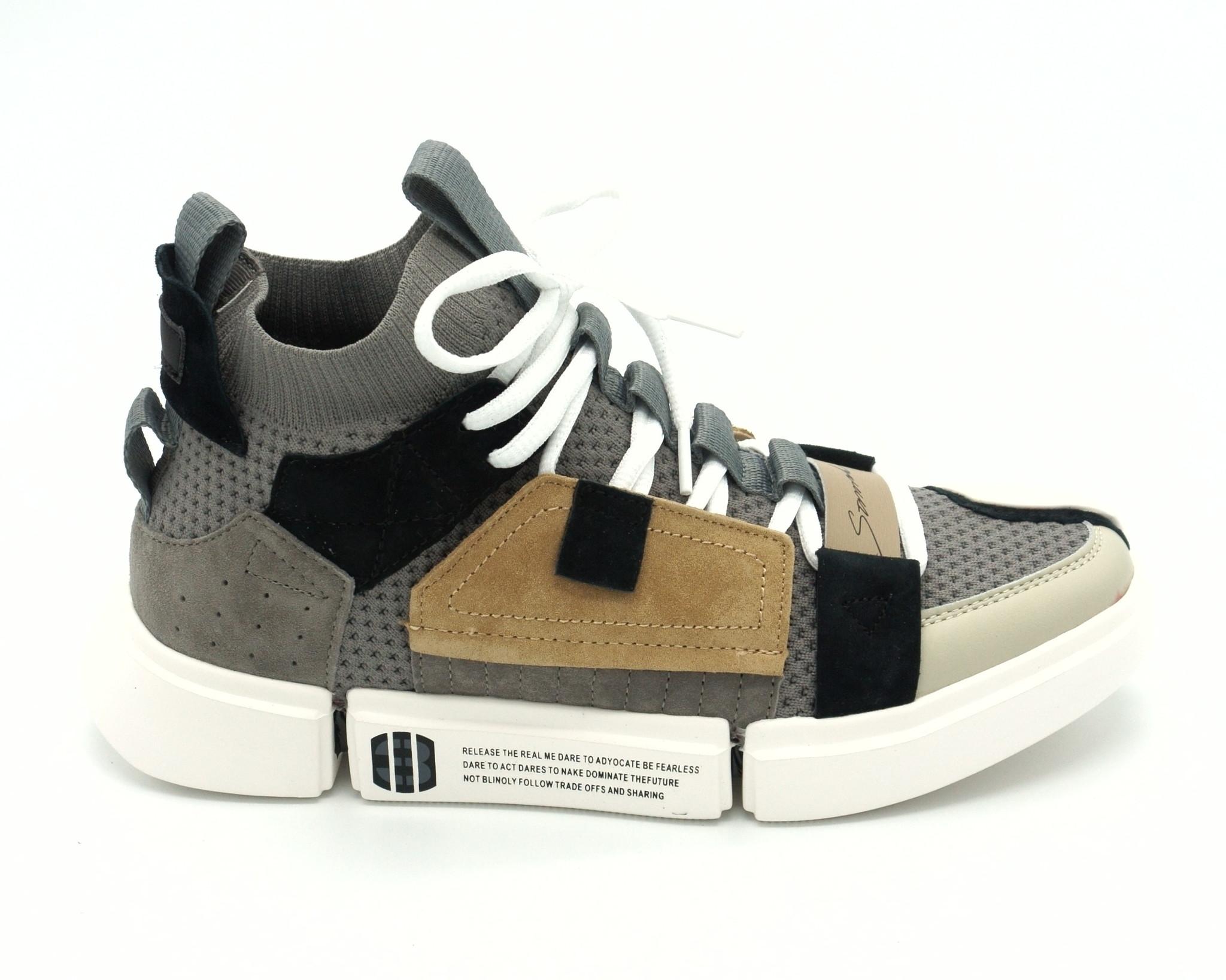 Комбинированные кроссовки из натурального велюра