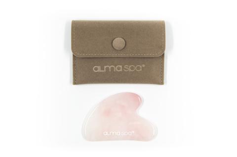 ALMASPA Скребок гуаша из розового кварца в бархатном мешочке