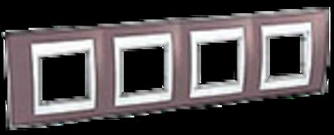 Рамка на 4 поста. Цвет Лиловый/Бежевый. Schneider electric Unica Хамелеон. MGU6.008.576