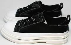 Кожаные женские кроссовки модные туфли на низком каблуке El Passo sy9002-2 Sport Black-White.