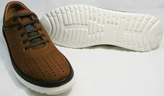 Удобные мужские туфли на спортивной подошве Vitto Men Shoes 1830 Brown White