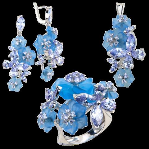 Комплект украшений с цветами из голубого кварца и кубическим цирконием цвета лаванды № 129