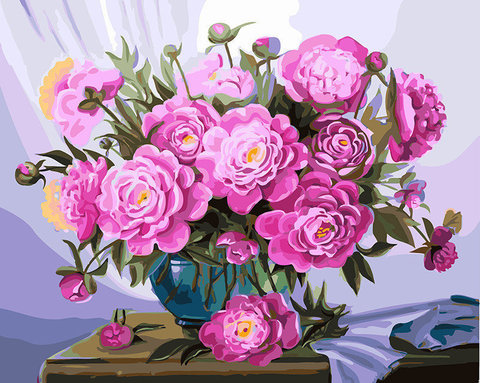 Алмазная Мозаика 40x50 Розовые цветы в вазе у окна