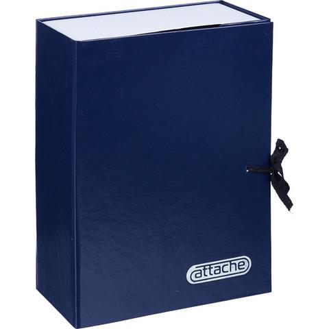 Папка архивная Attache А4 из бумвинила синяя 100 мм (нескладная, 2 х/б завязки, до 1000 листов)