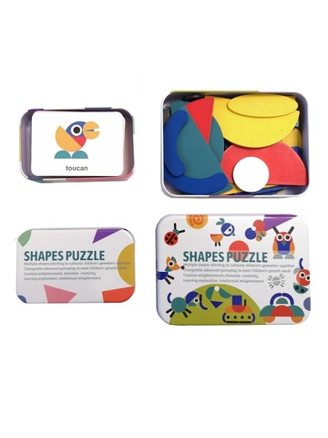 Развивающая головоломка деревянный танграм SHAPES PUZZLE 60 карточек, 60 заданий, 36 деталей в жестяной коробке