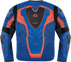 Мотокуртка - ICON OVERLORD RESISTANCE (текстиль, сине-оранжевая)