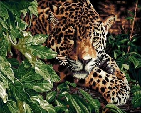Алмазная Мозаика 40x50 Тигрица отдыхает в зелени (арт. TC636)