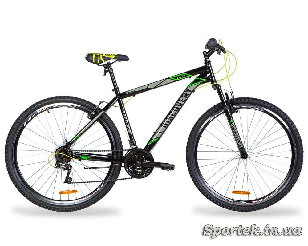 Гірський універсальний велосипед Discovery Rider AM Vbr колеса 29 - чорно-сірий з зеленим