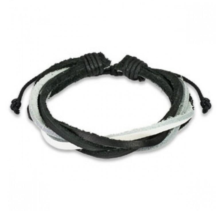 Стильный лёгкий плетёный мужской браслет из натуральной кожи SPIKES SL0034-KWH