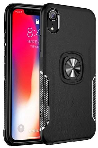 Чехол противоударный с магнитным кольцом на iPhone XR, имитация кожи от Caseport