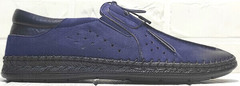 Кожаные мокасины туфли летние мужские стиль casual Luciano Bellini 91268-S-321 Black Blue.