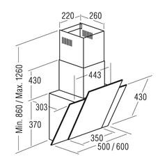 Вытяжка CATA Podium 600 negra схема