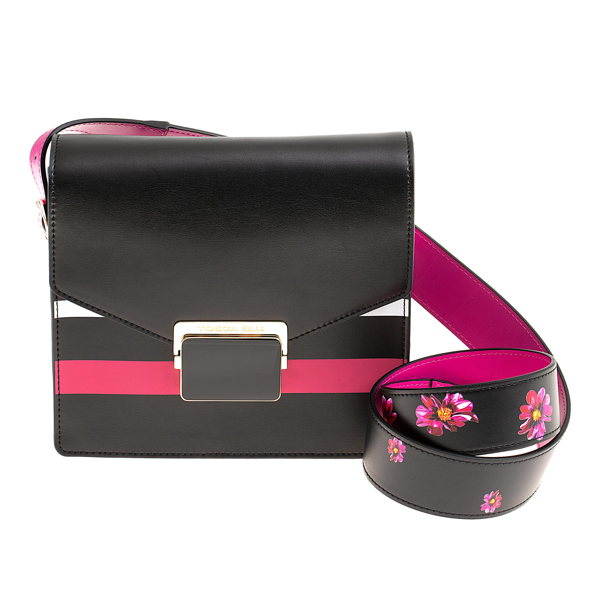 Кожаная сумка Tosca Blu Miro Shoulder Strap Black, Италия