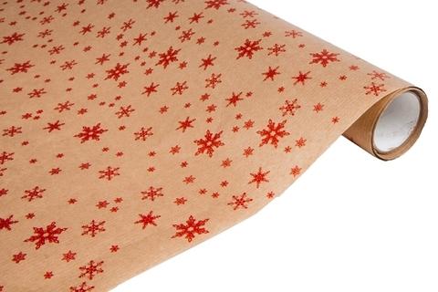 Бумага крафт 40г/м2, 70 см x 10 м, Снежинка, цвет: красный