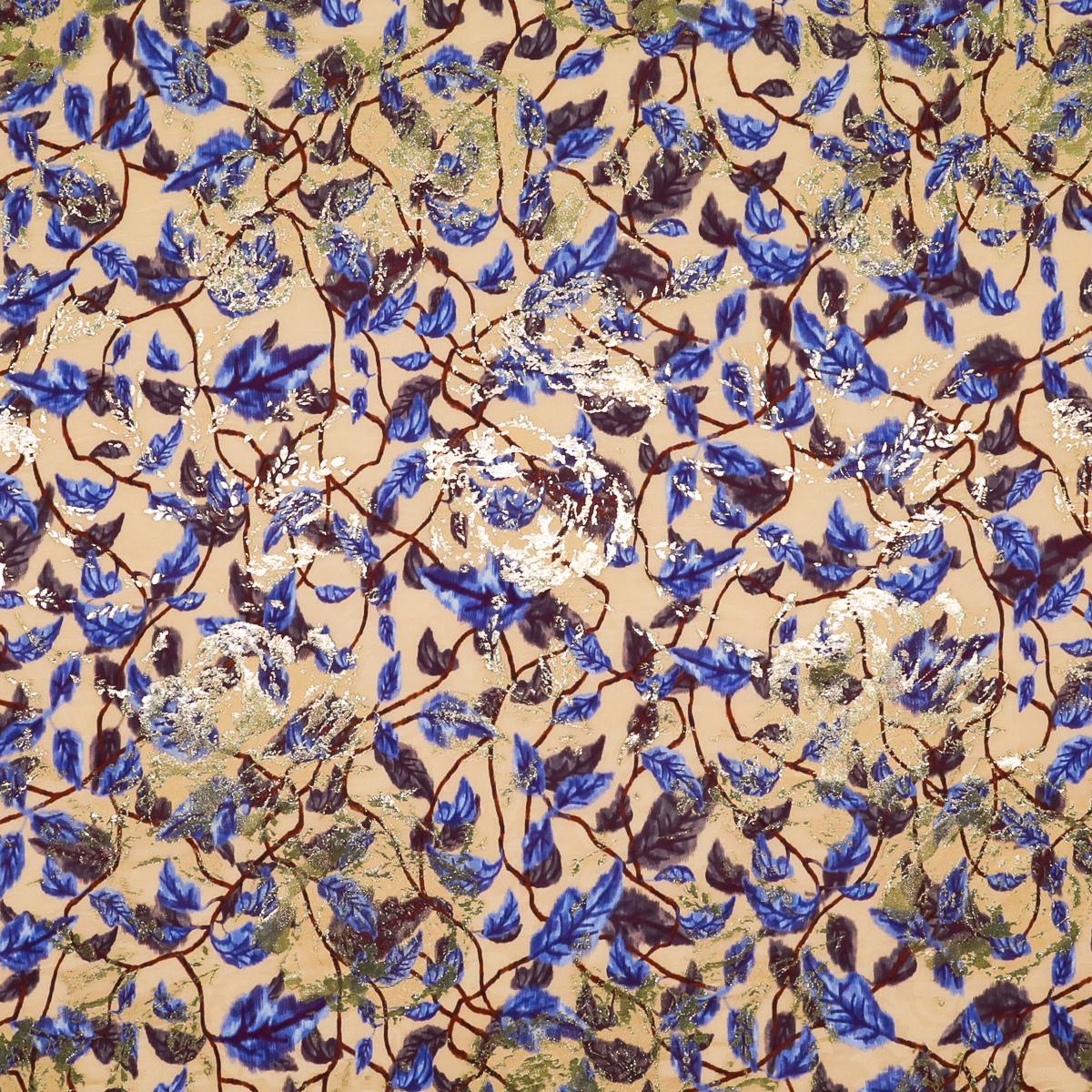 Кремово-бежевый шелковый жаккард в лианах с синими листьями