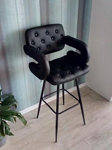 Интерьерный барный стул-кресло на четырех ножках Gregor Steel (стул стилиста/визажиста)