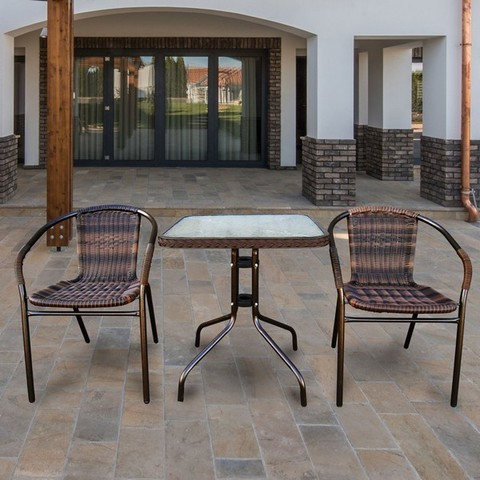 Комплект мебели для летнего кафе Асоль-2B TLH-037BR2/060SR-60х60 Brown (2+1)