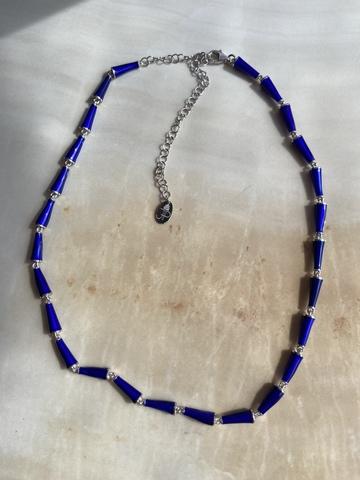 Колье Бонго синее, серебряный цвет