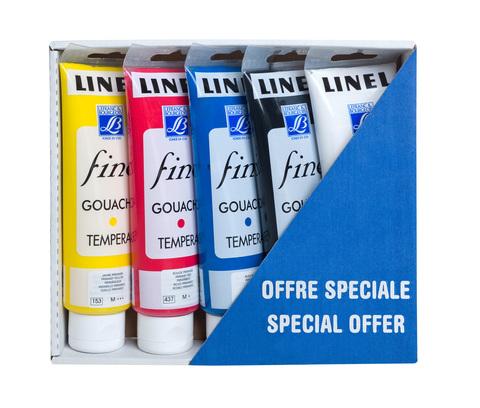 Набор гуаши Lefranc&Bourgeois FINE LINEL. 5 цветов по 120 мл в тубах