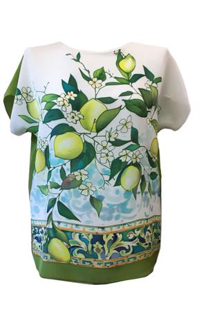 Шелковая блузка Лимоны  П-182