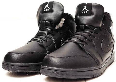 Зимние кроссовки кеды мужские Nike Air Jordan 1 Retro High Winter BV3802-945 All Black
