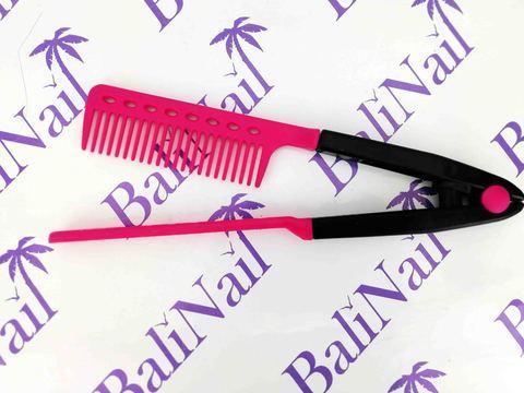 Многофункциональная расчёска для выпрямления волос и придания объёма (малиновая)