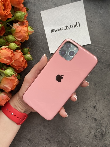 Чехол Iphone 11 Pro Glass Silicone Case Logo /pink/