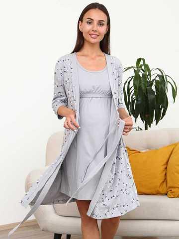Мамаландия. Комплект для беременных и кормящих, цветы/серый