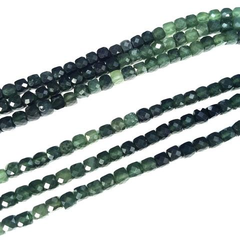 Бусины нефрит АА кубик граненый 4,5 мм 6 бусин цвет тёмный зеленый