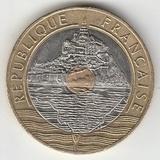 K12260 1993 Франция 20 франков Мон-Сен-Мишель aUNC-UNC триметалл