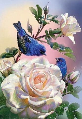 Алмазная Мозаика 20x30 Синие птицы на ветке белой розы (арт. SGC5106 )