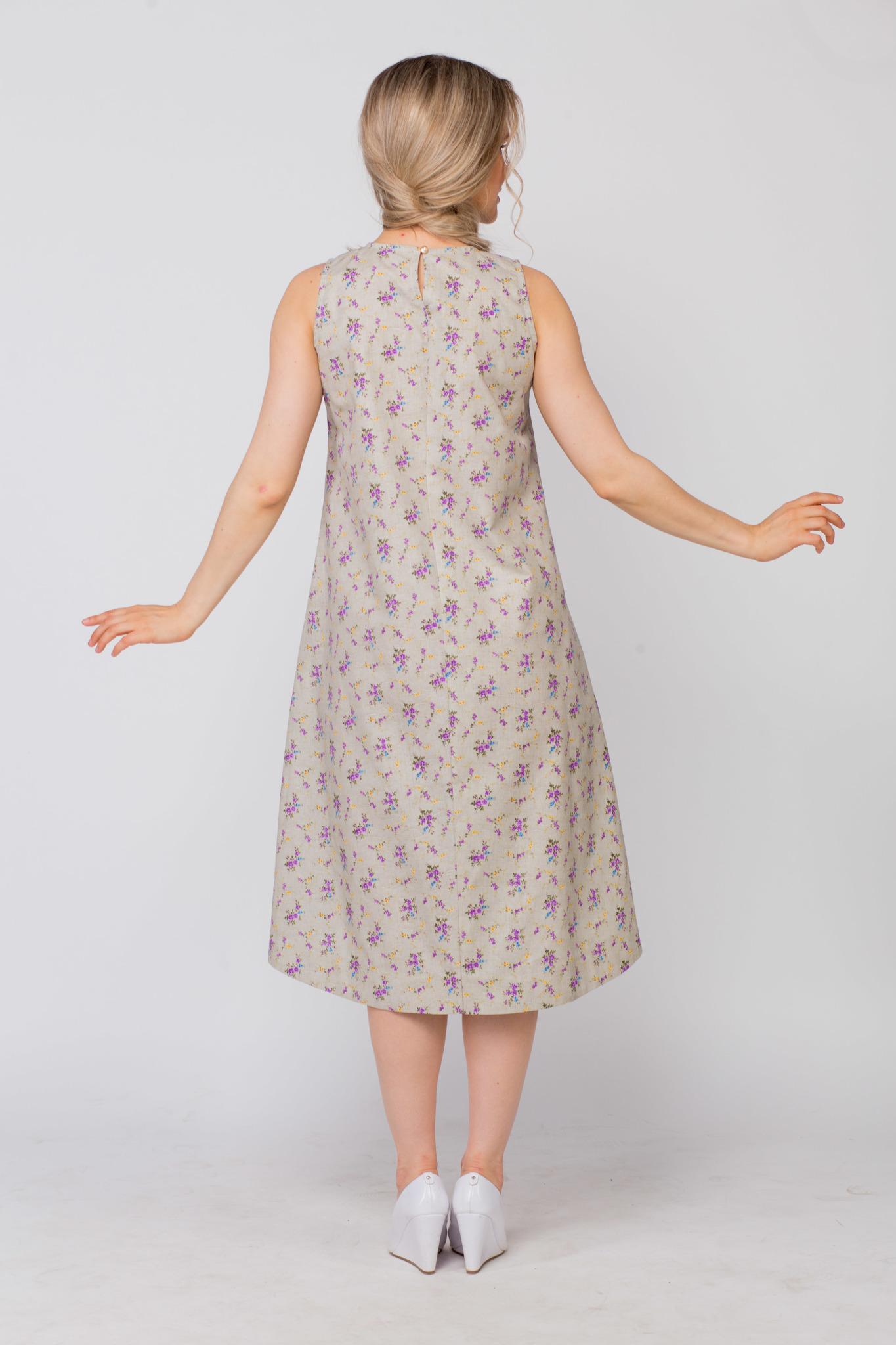 Платье льняное Очарование вид сзади
