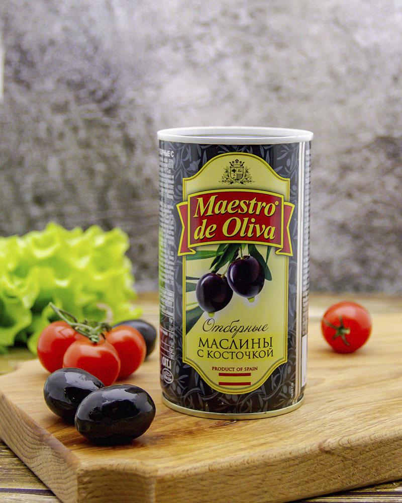Маслины Maestro de Oliva Отборные с Косточкой 360 гр.