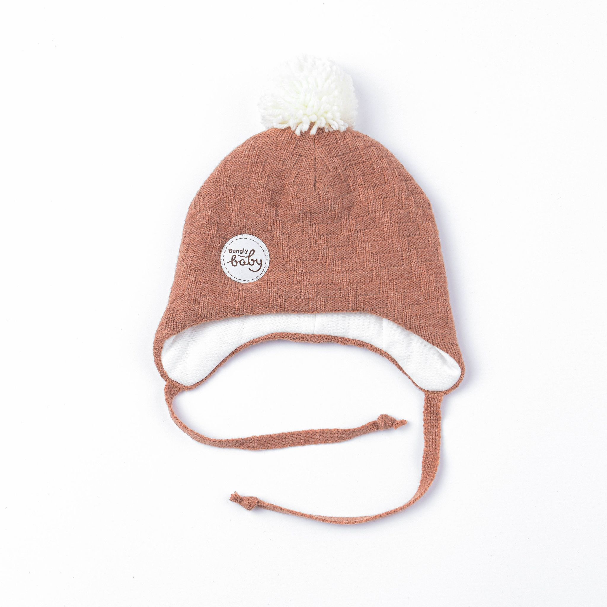 Winter hat with ties and pompon 0+, Sorbet