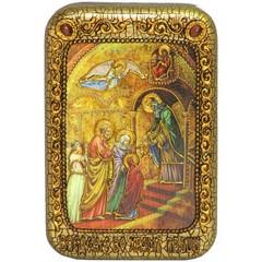 Инкрустированная Икона Введение Во Храм Богородицы 15х10см на натуральном дереве, в подарочной коробке