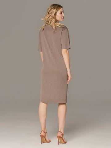 Женское платье коричневого цвета с коротким рукавом - фото 2