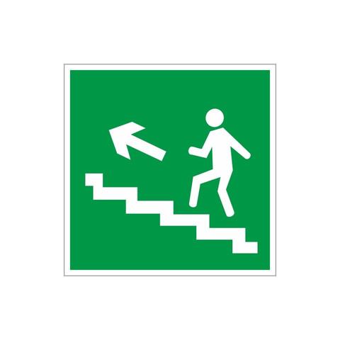 E16 Направление к эвакуац.выходу по лестнице вверх, левосторонний (пленка ПВХ, ф/л, 200х200)