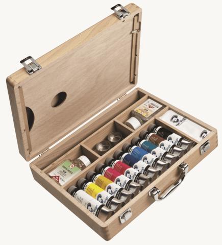Набор масляных красок Van Gogh Базовый 10 туб по 40мл (с вспомогательными средствами и аксессуарами) в деревянном коробе