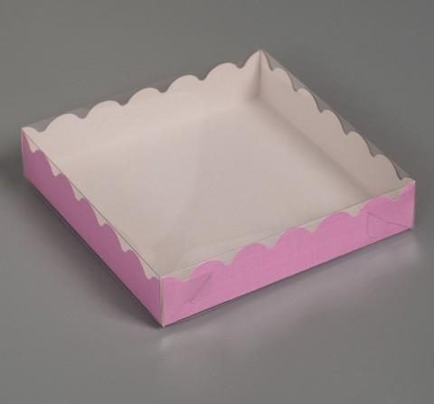 Коробка для печенья и пряников 15*15*3см (розовая)