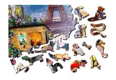 Щенки в Париже от Wooden City - Деревянный пазл, позитивный и яркий с деталями разных формы. Веселая картина с собачками, детский пазл