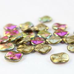 Бусина Ripple Волнистый диск, 12 мм, золотая с фиолетово-зеленым