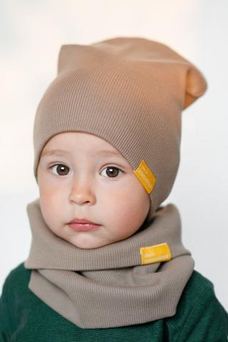 Детская шапка хлопковая в рубчик какао