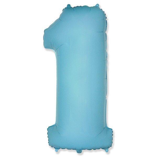 Фольгированная цифра 1, голубой