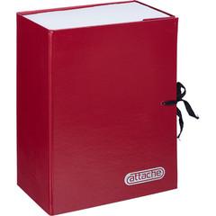 Папка архивная Attache А4 из бумвинила красная 120 мм (складная, 2 х/б завязки, до 1200 листов)