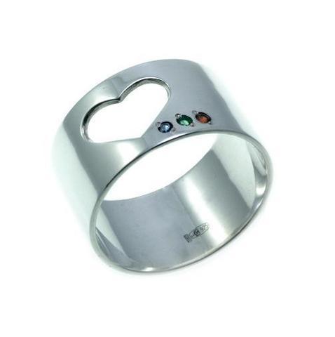 Серебряное широкое кольцо сердце с сапфиром, изумрудом и рубином